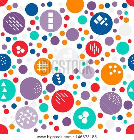 Colorful random polka dot of different size seamless pattern with texture of different geometric shapes: triangle line honeycomb square. Vivid polkadot funny festive background.Vector illustration.