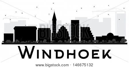 Windhoek City skyline black and white silhouette. Simple flat concept for tourism presentation, banner, placard or web site. Business travel concept. Cityscape with landmarks