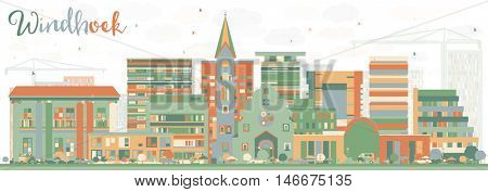 Abstract Windhoek Skyline with Color Buildings. Business Travel and Tourism Concept with Modern Buildings. Image for Presentation Banner Placard and Web Site.