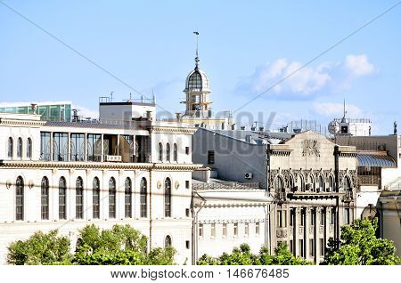Panorama of St Petersburg Russia. Birds eye view of St Petersburg and Directorate of Alexandrinsky Theatre -Russian State Academy Drama Theater in St Petersburg Russia