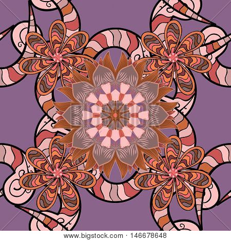 Seamless pattern in Zen-doodle or Zen-tangle style in beige lilac brown.