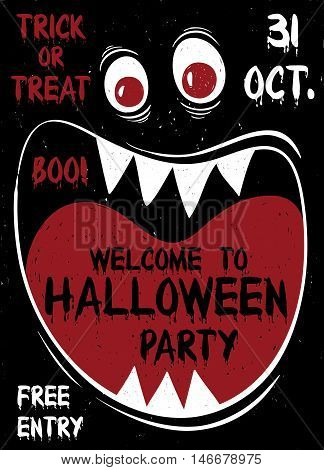 Halloween party flyer or poster. Funny cartoon muzzle of monster with wide open mouth. poster