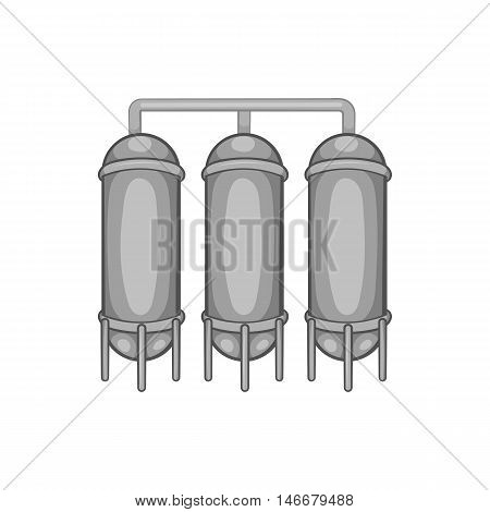 Water treatment for beer production icon in black monochrome style isolated on white background. Production of alcohol symbol vector illustration
