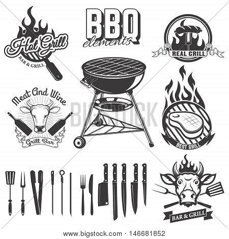 Bbq grill bar emblems and badges. Set of kitchen tools. Design elements for logo label emblem sign restaurant menu. Vector illustration.
