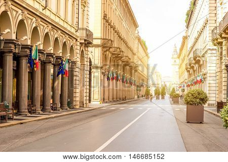Rome central pedestrian street in Turin city in the morning in Italy