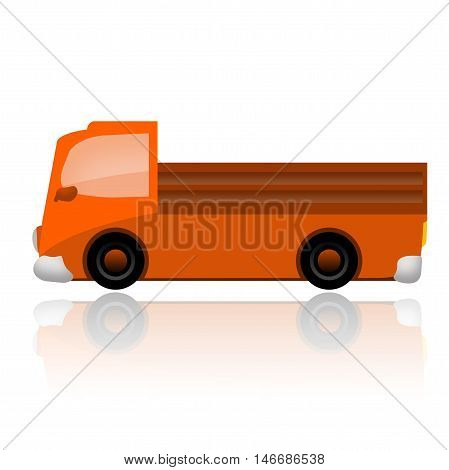 Orange truck illustration isolated on white background
