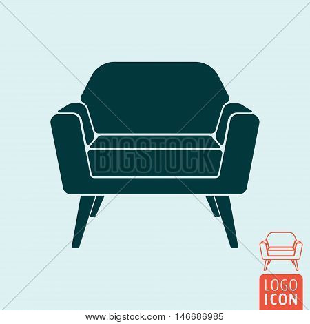 Armchair icon. Lounge area or waiting room symbol. Vector illustration