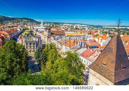 View to Kosice theatre and Main street from the top of Saint Elisabeth Cathedral tower. Kosice is the biggest city in eastern Slovakia and in 2013 was the European Capital of Culture.