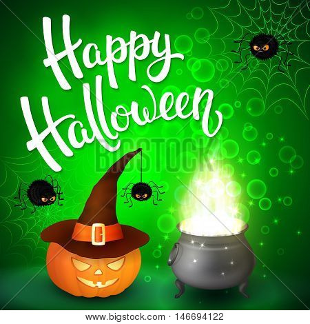 Halloween greeting card with witch cauldron, hat, pumpkin, angry spiders, net and brush lettering on green background with bubbles. Decoration for poster, banner, flyer design. Vector illustration