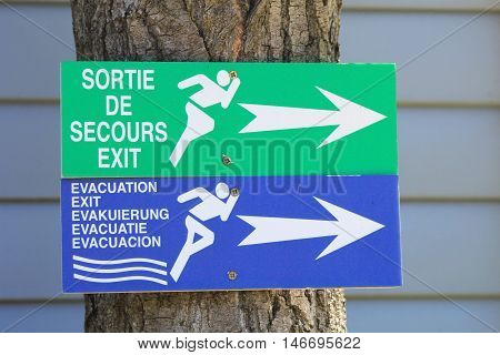 St-aygulf, Provence, France - August 27 2016: Emergency Exit And Evacuation Signs On A Campsite In T