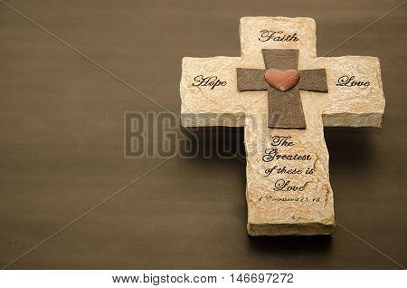 Elevated Faith, Hope, Love Stone Cross Decor