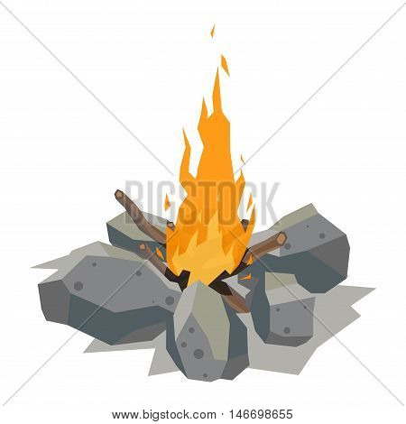 Isolated illustration of campfire logs burning bonfire. Bonfire on white background. Vector bonfire isolated and wood explosion glowing bonfire isolated. Nature burning blazing power vector. poster
