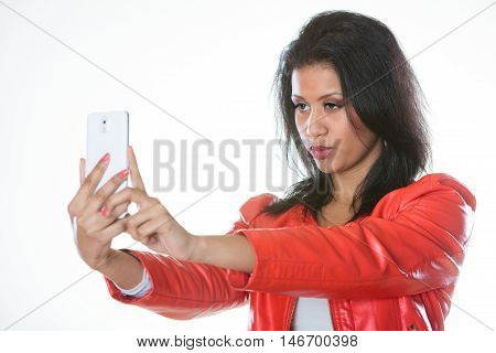 Beauty Girl Taking Selfie