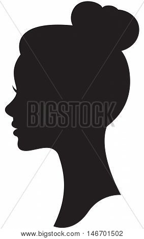 Vector silhouette of a bride with a wedding hairstyle portrait in profile Stock Illustration