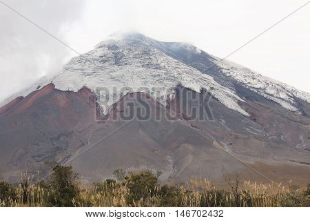 This photo was taken far away of the Cotopaxi Volcano.