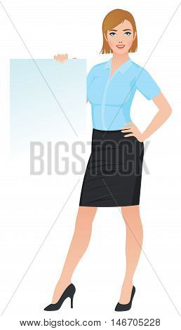 Confident business woman in office clothes holding a blank white board Stock vector illustration