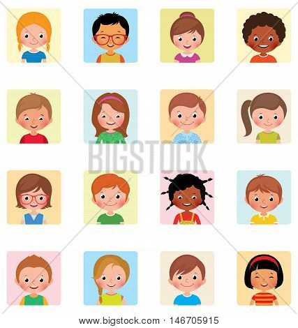 Collection icons avatars children of different nationalities Stock vector illustration of flat