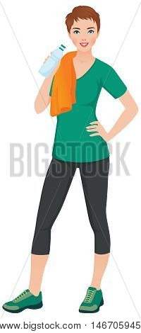 Woman athlete in training clothes with a bottle of water in hand Stock vector illustration
