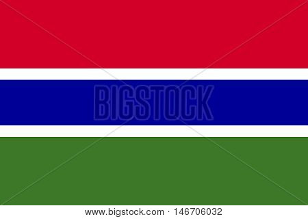 Flag of the Gambia in correct size proportions and colors. Accurate official standard dimensions. Gambian national flag. African patriotic symbol banner element background. Vector illustration poster