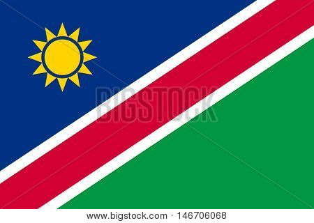 Flag of Namibia in correct size proportions and colors. Accurate official standard dimensions. Namibian national flag. African patriotic symbol banner element background. Vector illustration