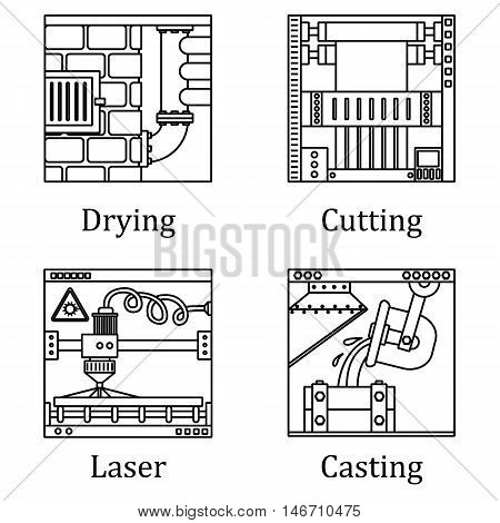 A Set Of Four Images Of Technological Manufactures Chemical Or Heavy Industry