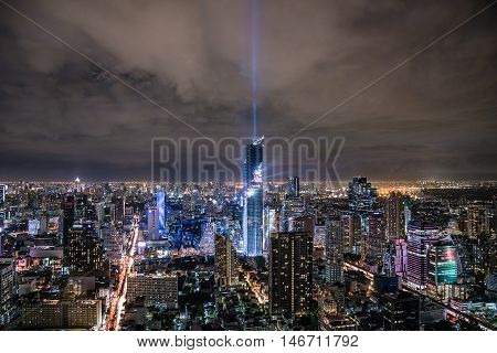 BANGKOK THAILAND - AUGUST 29 : View at MahaNakhon skyscraper and spectacular lightshow on August 29 2016 BangkokThailand.