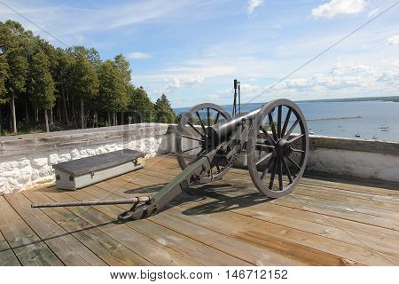 A six pounder cannon on Fort Mackinac, Mackinac Island, Michigan