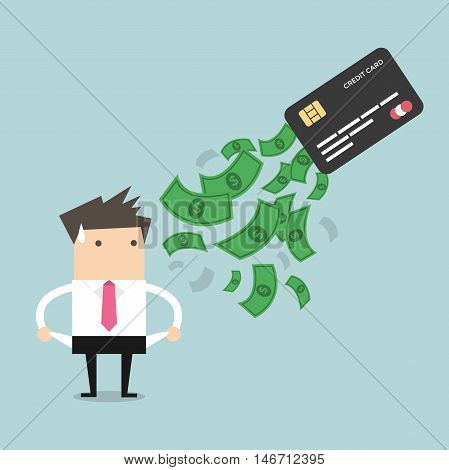 Businessman no money. debt from credit card. concept of debt