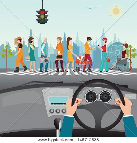 Human hands driving a car on asphalt road with people walking on the crosswalk car interior flat design vector illustration.