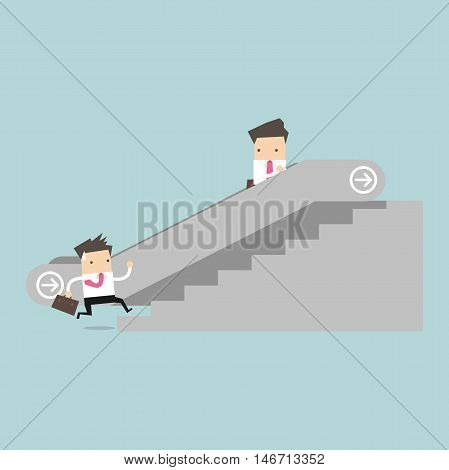 Businessman on escalator and another man climbing the stairs