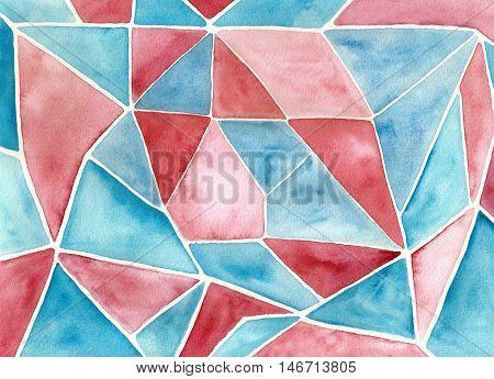 Pink, magenta, blue polygonal mosaic pattern watercolor hand painted.