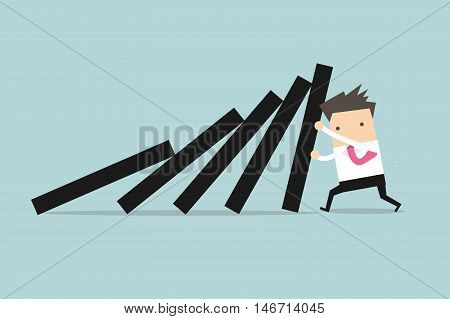 Businessman pushing hard against falling deck of domino tiles.