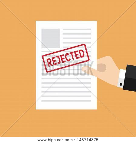 Businessman Hand holds rejected paper vector illustration