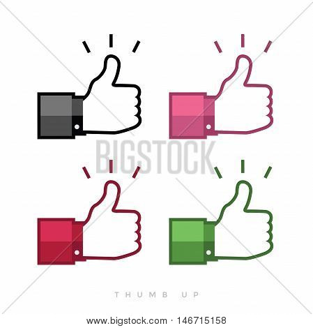 Thumbs up icons set flat design vector illustration