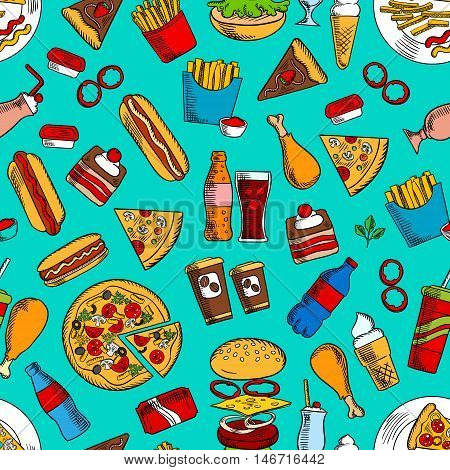 Fast food sandwiches, drinks and desserts seamless pattern with hamburger, cheeseburger, pizza, hot dog, takeaway soda and coffee beverages, french fries, chicken leg, chocolate cake, ice cream