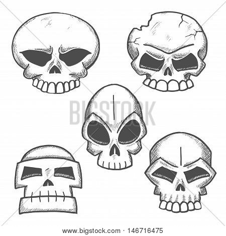 Sketched skulls with eerie old cranium of human or monster with cracked bone, destroyed jaw and angry glances of empty eye sockets. Halloween, mascot or tattoo design