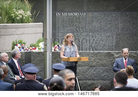 NEW YORK - SEPT 9 2016: Shari Hyman, Battery Park City Authority speaks at the NYPD Emerald Society Pipe and Drums 9/11 Memorial Commemoration Service on the 15th anniversary of the terror attacks.