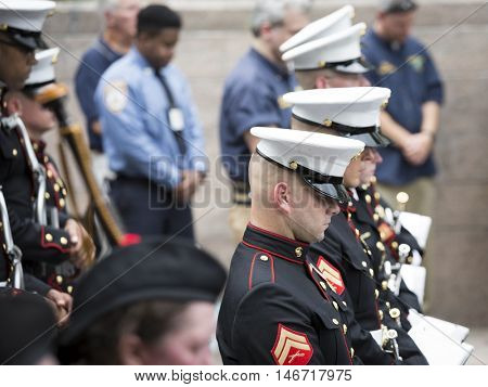 NEW YORK - SEPT 9 2016: Members of Quantico Marine Corp Band at the NYPD Emerald Society Pipe and Drums 9/11 Memorial Commemoration Service that marks the 15th anniversary of the terror attacks.