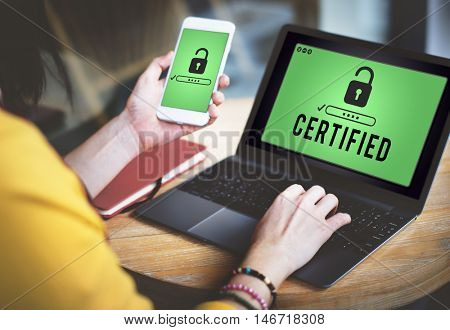 Certified Approved Comfirmation Guarantee Concept