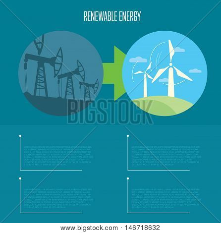 Vector illustration of evolution from industrial pollution to renewable energy. Wind turbines in green field. Oil industry equipment. Blue ecology infographics template with space for text.