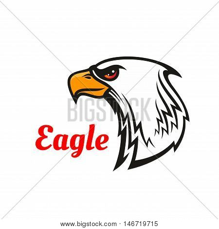 Eagle head mascot with white bird of prey, decorated by tribal ornament in a shape of feathers. Sporting team, club or t-shirt print design