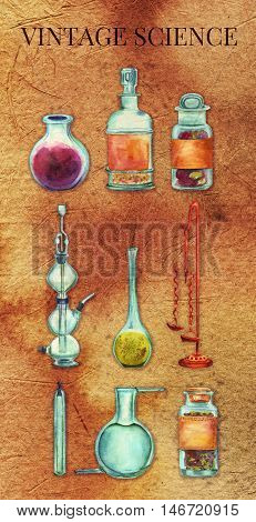 Vintage Science poster. A set of vintage chemistry objects: jars bottles containers apparatuses. Hand painted in watercolours on old paper background. Scrapbook page or decorative poster