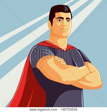 Superhero with Arms Crossed Vector Illustration in Comics Style