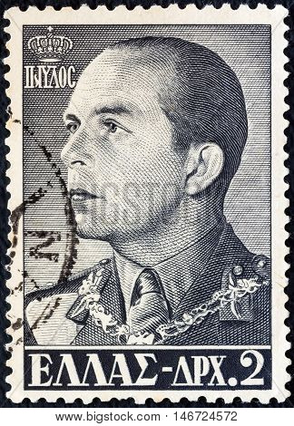 GREECE - CIRCA 1956: A stamp printed in Greece shows king Paul of Greece, circa 1956.