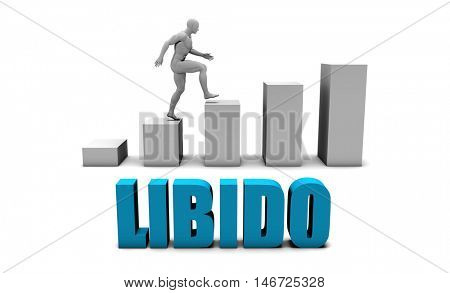 Libido 3D Concept  in Blue with Bar Chart Graph 3D Illustration Render