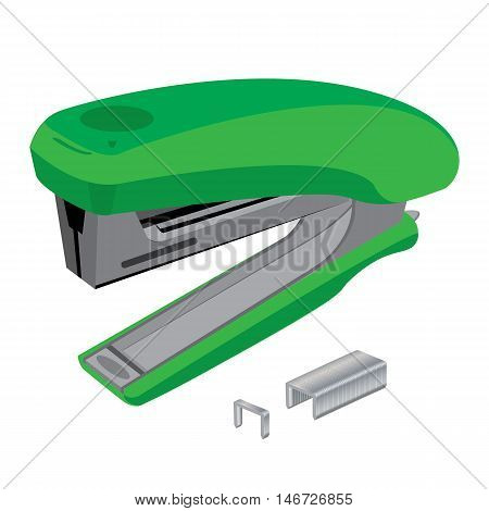 Stapler and staples. Green stapler and staples isolated on white background.