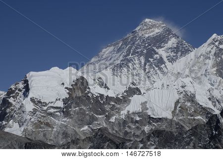 File image dated 24/09/2007 of the summit of Mount Everest seen from the west from Gokyo Peak in the Solu Khumbu region of Nepal. Heavy snowfall has left hundreds of trekkers stranded in this valley