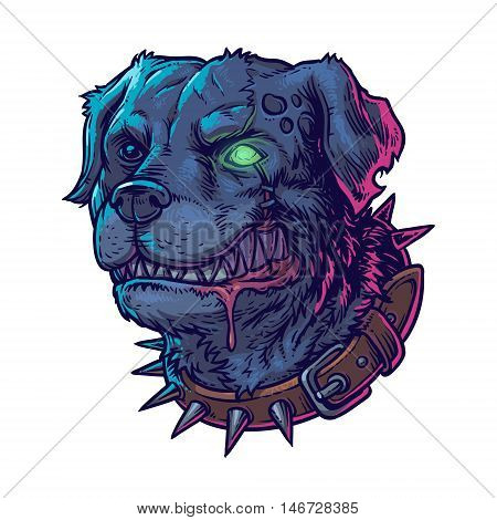 Vector illustration of evil mad dog grinning teeth