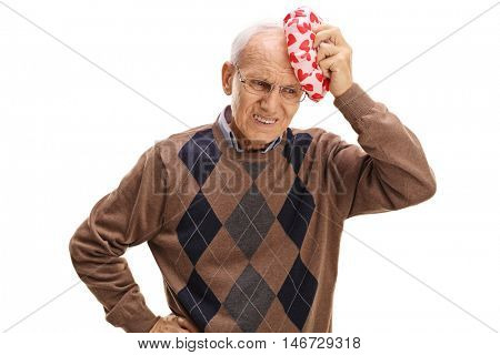 Elderly man experiencing a headache isolated on white background