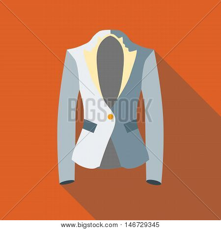 Jacket icon in flat style isolated with long shadow vector illustration
